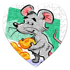 Mouse Cheese Tail Rat Hole Jigsaw Puzzle (heart)