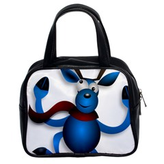 Reindeer Dancing Blue Christmas Classic Handbags (2 Sides) by Simbadda