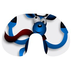 Reindeer Dancing Blue Christmas Travel Neck Pillows