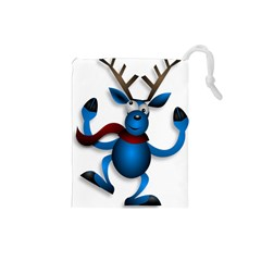 Reindeer Dancing Blue Christmas Drawstring Pouches (small)