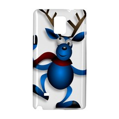 Reindeer Dancing Blue Christmas Samsung Galaxy Note 4 Hardshell Case by Simbadda