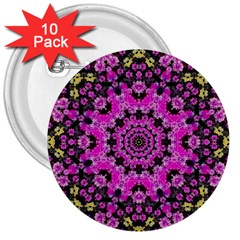 Namaste Decorative Flower Pattern Of Floral 3  Buttons (10 Pack)  by pepitasart