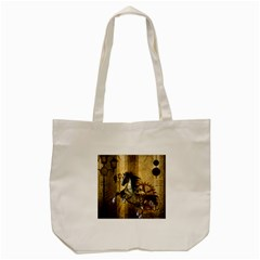 Awesome Steampunk Horse, Clocks And Gears In Golden Colors Tote Bag (cream) by FantasyWorld7
