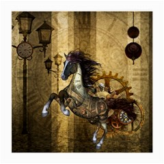 Awesome Steampunk Horse, Clocks And Gears In Golden Colors Medium Glasses Cloth (2 Side) by FantasyWorld7
