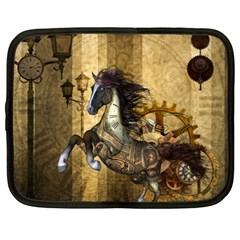 Awesome Steampunk Horse, Clocks And Gears In Golden Colors Netbook Case (large) by FantasyWorld7