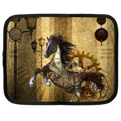 Awesome Steampunk Horse, Clocks And Gears In Golden Colors Netbook Case (xxl)  by FantasyWorld7
