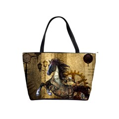 Awesome Steampunk Horse, Clocks And Gears In Golden Colors Shoulder Handbags by FantasyWorld7