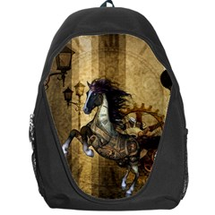 Awesome Steampunk Horse, Clocks And Gears In Golden Colors Backpack Bag by FantasyWorld7
