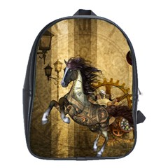 Awesome Steampunk Horse, Clocks And Gears In Golden Colors School Bag (xl) by FantasyWorld7