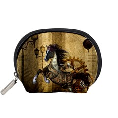 Awesome Steampunk Horse, Clocks And Gears In Golden Colors Accessory Pouches (small)  by FantasyWorld7