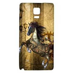 Awesome Steampunk Horse, Clocks And Gears In Golden Colors Galaxy Note 4 Back Case by FantasyWorld7