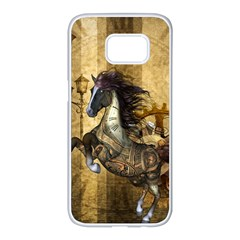 Awesome Steampunk Horse, Clocks And Gears In Golden Colors Samsung Galaxy S7 Edge White Seamless Case by FantasyWorld7