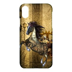 Awesome Steampunk Horse, Clocks And Gears In Golden Colors Apple Iphone X Hardshell Case by FantasyWorld7