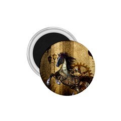 Awesome Steampunk Horse, Clocks And Gears In Golden Colors 1 75  Magnets by FantasyWorld7