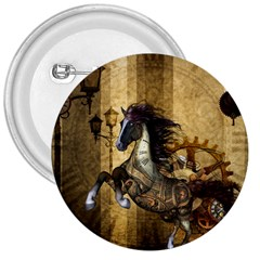 Awesome Steampunk Horse, Clocks And Gears In Golden Colors 3  Buttons by FantasyWorld7