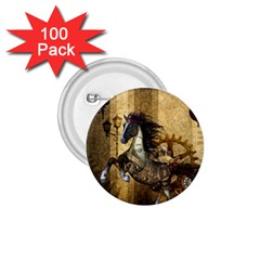 Awesome Steampunk Horse, Clocks And Gears In Golden Colors 1 75  Buttons (100 Pack)
