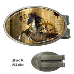 Awesome Steampunk Horse, Clocks And Gears In Golden Colors Money Clips (oval)  by FantasyWorld7