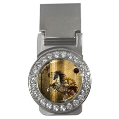 Awesome Steampunk Horse, Clocks And Gears In Golden Colors Money Clips (cz)  by FantasyWorld7