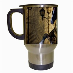 Awesome Steampunk Horse, Clocks And Gears In Golden Colors Travel Mugs (white) by FantasyWorld7