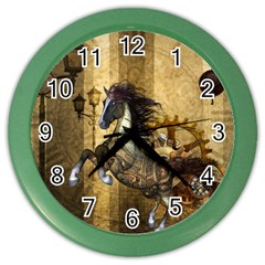 Awesome Steampunk Horse, Clocks And Gears In Golden Colors Color Wall Clocks by FantasyWorld7