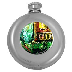 Old Tree And House With An Arch 5 Round Hip Flask (5 Oz) by bestdesignintheworld