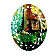 Old Tree And House With An Arch 5 Ornament (oval Filigree) by bestdesignintheworld