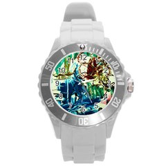 Clocks And Watch 4 Round Plastic Sport Watch (l) by bestdesignintheworld