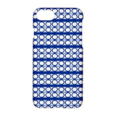 Circles Lines Blue White Apple Iphone 7 Hardshell Case by BrightVibesDesign
