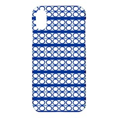 Circles Lines Blue White Apple Iphone X Hardshell Case by BrightVibesDesign
