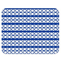 Circles Lines Blue White Pattern  Double Sided Flano Blanket (medium)  by BrightVibesDesign