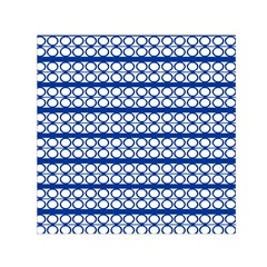 Circles Lines Blue White Pattern  Small Satin Scarf (square)  by BrightVibesDesign
