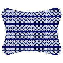 Circles Lines Blue White Pattern  Jigsaw Puzzle Photo Stand (bow) by BrightVibesDesign