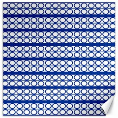 Circles Lines Blue White Pattern  Canvas 20  X 20   by BrightVibesDesign