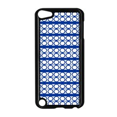 Circles Lines Blue White Pattern  Apple Ipod Touch 5 Case (black) by BrightVibesDesign