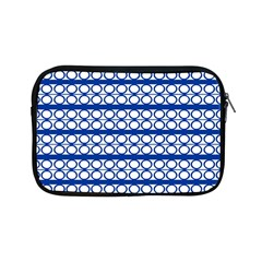 Circles Lines Blue White Pattern  Apple Ipad Mini Zipper Cases by BrightVibesDesign