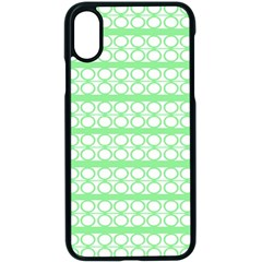 Circles Lines Green White Pattern Apple Iphone X Seamless Case (black) by BrightVibesDesign