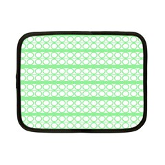 Circles Lines Green White Pattern Netbook Case (small)  by BrightVibesDesign