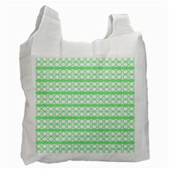 Circles Lines Green White Pattern Recycle Bag (one Side) by BrightVibesDesign