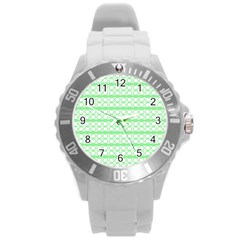 Circles Lines Green White Pattern Round Plastic Sport Watch (l) by BrightVibesDesign