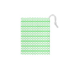 Circles Lines Green White Pattern Drawstring Pouches (xs)  by BrightVibesDesign