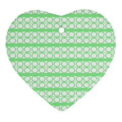 Circles Lines Green White Pattern Heart Ornament (two Sides) by BrightVibesDesign
