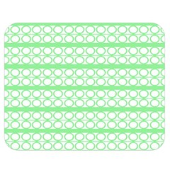 Circles Lines Green White Pattern Double Sided Flano Blanket (medium)  by BrightVibesDesign