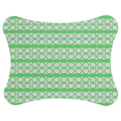 Circles Lines Green White Pattern Jigsaw Puzzle Photo Stand (bow) by BrightVibesDesign