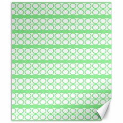 Circles Lines Green White Pattern Canvas 8  X 10  by BrightVibesDesign
