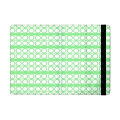 Circles Lines Green White Pattern Ipad Mini 2 Flip Cases by BrightVibesDesign