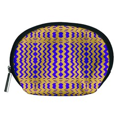 Purple Yellow Wavey Lines Accessory Pouches (medium)  by BrightVibesDesign