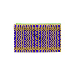 Purple Yellow Wavey Lines Cosmetic Bag (xs)