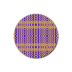 Purple Yellow Wavey Lines Rubber Coaster (round)  by BrightVibesDesign
