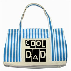 Cool Dad Typography Striped Blue Tote Bag by yoursparklingshop