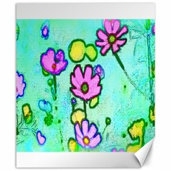 Pink Flowers On Pale Green Pattern Canvas 8  X 10
